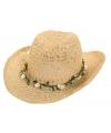 Bloemenkrans cowboyhoed van stro